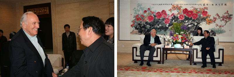 Images of Mr. Bruce Barren meeting with the Mayor of Shenyang